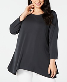 Alfani Plus Size 3/4-Sleeve Swing Top, Created for Macy's