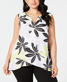 Alfani Plus Size Sleeveless Printed Crossover Top, Created for Macy's