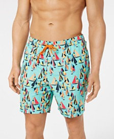 "Club Room Men's Sailboat Quick-Dry 7"" Swim Trunks, Created for Macy's"