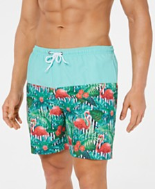 "Trunks Surf & Swim Co. Men's Flamingo Colorblocked 6"" Swim Trunks"