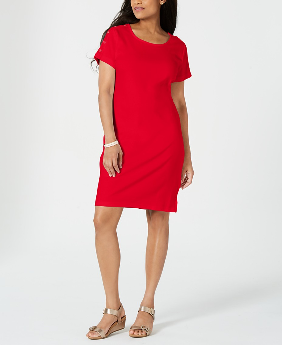 5390d3ad9 Karen Scott Cotton Button-Shoulder Dress, Created for Macy's