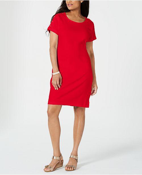 Karen Scott Cotton Button-Shoulder Dress, Created for Macy's