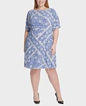 fad54a85a65 Tommy Hilfiger Plus Size Cold-Shoulder Floral-Print Dress