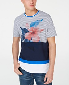 Michael Kors Men's Colorblocked Stripe Floral Graphic T-Shirt