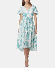 Tahari ASL Printed Flutter-Sleeve Fit & Flare Dress