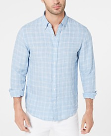 Michael Kors Men's Slim-Fit Mélange Check Linen Shirt