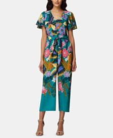 Tahari ASL Printed Cropped Flutter-Sleeve Jumpsuit