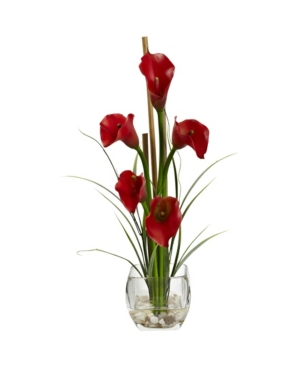 Nearly Natural Calla Lilly Liquid Illusion Silk Flower Arrangement