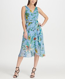 DKNY Floral Chiffon V-Neck Midi Wrap Dress with Belt