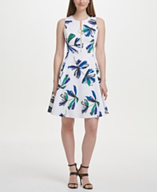 DKNY Printed Fit & Flare Zipper Dress
