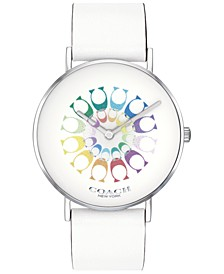 Women's Perry White Leather Strap Watch 36mm, Created for Macy's