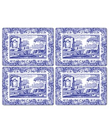 Table Linens, Set of 4 Blue Italian Placemats