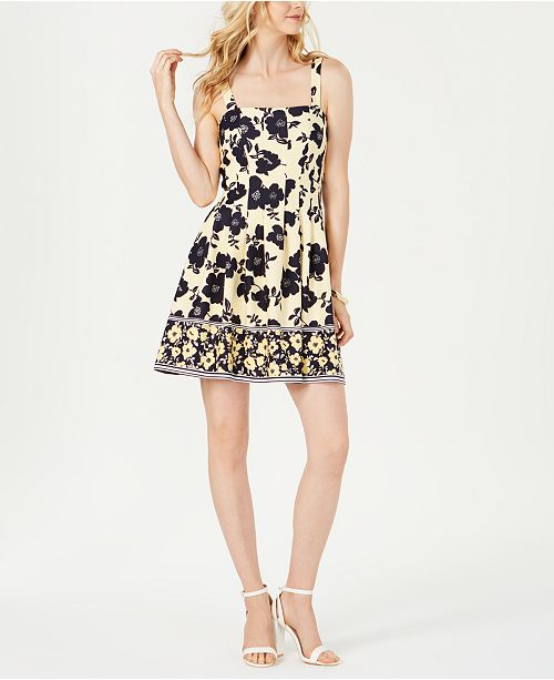 Vince Camuto Square-Neck Fit & Flare Dress