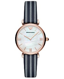 Emporio Armani Women's Blue Striped Leather Strap Watch 32mm