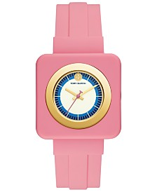 Tory Burch Women's Izzie Pink Rubber Strap Watch 36mm