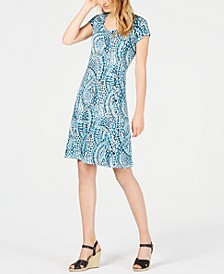 Petite Printed Cap-Sleeve Dress