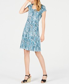 NY Collection Petite Printed Cap-Sleeve Dress