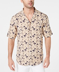 Club Room Men's Palm-Print Camp Collar Shirt, Created for Macy's