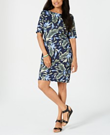Karen Scott Petite Palm Revival Dress, Created for Macy's