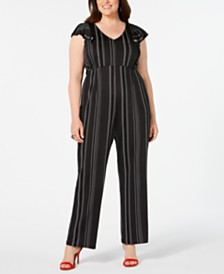 NY Collection Petite Plus Size Flutter-Sleeve Jumpsuit