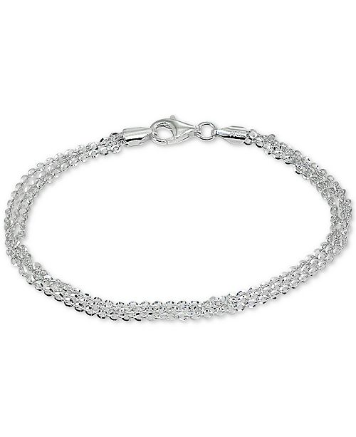 Giani Bernini Three Row Chain Bracelet in Sterling Silver, Created for Macy's