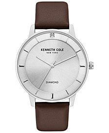 Men's Diamond-Accent Brown Leather Strap Watch 43mm
