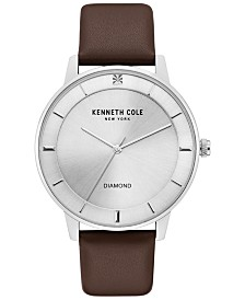 Kenneth Cole New York Men's Diamond-Accent Brown Leather Strap Watch 43mm