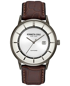 Kenneth Cole New York Men's Solar Brown Leather Strap Watch 42mm