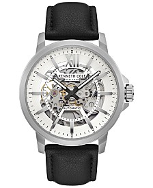 Kenneth Cole New York Men's Automatic Black Leather Strap Watch 43.5mm