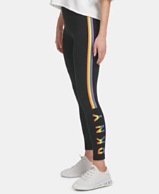 DKNY Sport Logo Striped High-Waist Leggings