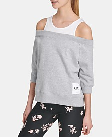 DKNY Sport Cotton Cold-Shoulder Top