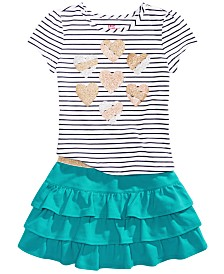 Epic Threads Little Girls Stripped Heart Top & Tiered Skirt Separates, Created for Macy's