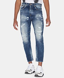 A|X Armani Exchange Men's Tapered-Fit Distressed Jeans
