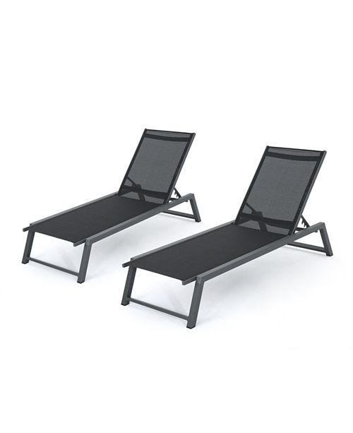 Noble House Myers Outdoor Chaise Lounge, Set of 2