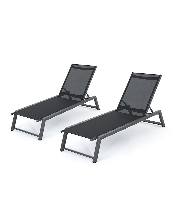 Noble House - Myers Outdoor Chaise Lounge, Quick Ship (Set of 2)