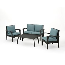 Honolulu Outdoor 4pc Seating Set, Quick Ship