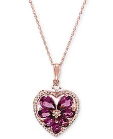 "Rhodolite (2 ct. t.w.) & Diamond (1/5 ct. t.w.) 18"" Pendant Necklace in 10k Rose Gold"