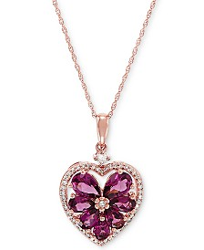 "Rhodolite (2 ct. t.w.) & Diamond (1/5 ct. t.w.) 18"" Pendant Necklace in 10k Rose Gold"