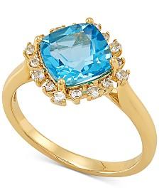 Swiss Blue Topaz (2-3/4 ct. t.w.) & White Topaz (1/4 ct. t.w.) Statement Ring in 10k Gold