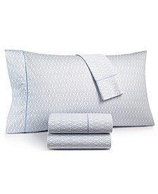 CLOSEOUT! Textured Lattice Cotton 525-Thread Count 4-Pc. Queen Sheet Set, Created for Macy's