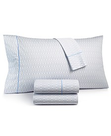 CLOSEOUT! Hotel Collection Textured Lattice Cotton 525-Thread Count 4-Pc. Queen Sheet Set, Created for Macy's