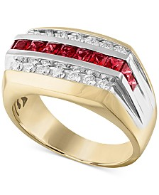 Men's Lab-Created Ruby (1-1/10 ct. t.w.) & White Sapphire (5/8 ct. t.w.) Ring in 10k Gold