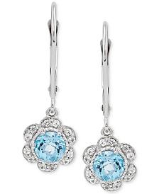 Swiss Blue Topaz (1-1/5 ct. t.w.) & White Sapphire (1/4 ct. t.w.) Floral Drop Earrings in 10k White Gold