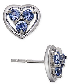Tanzanite Heart Cluster Stud Earrings (1/2 ct. t.w.) in 14k White Gold
