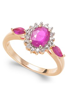 Ruby (1-1/2 ct. t.w.) & Diamond (1/6 ct. t.w.) Statement Ring in 14k Gold