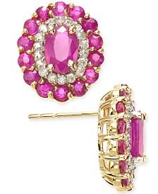 Ruby (2-5/8 ct. t.w.) & Diamond (1/4 ct. t.w.) Oval Stud Earrings in 14k Gold