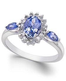 Tanzanite (1 ct. t.w.) & Diamond (1/3 ct. t.w.) Ring in 14k White Gold