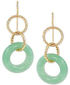 Jade Multi-Ring Drop Earrings in 10k Gold