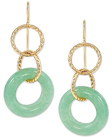 Jade Multi-Ring Drop Earrings in 10k Gold