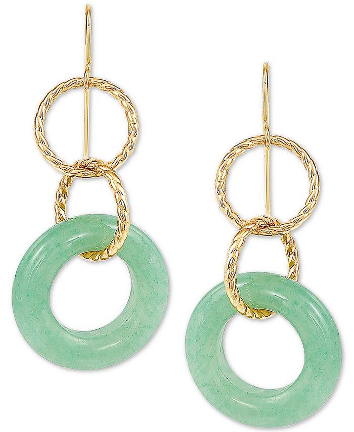 Macy's - Jade Multi-Ring Drop Earrings in 10k Gold